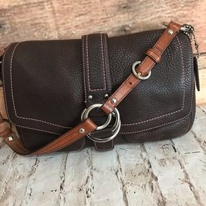 Coach Chelsea Brown Pebbled Leather Shoulder Bag